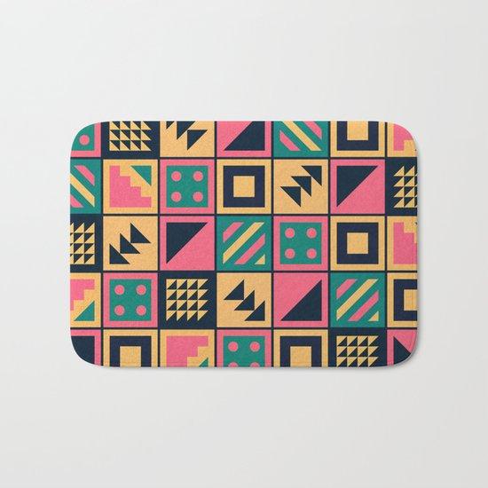 Colorful Geometric Floor Tile Pattern Bath Mat