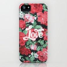 Red Pink Roses Chic Love Vintage Floral Pattern Slim Case iPhone (5, 5s)