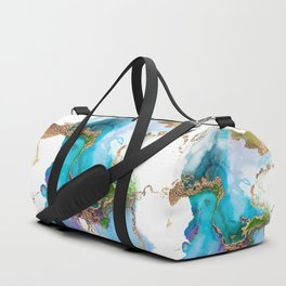 Abstract Marble Mermaid Gemstone With Gold Glitter Duffle Bag