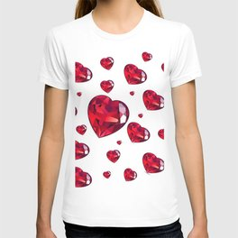 MODERN ART RAINING RUBY RED VALENTINES HEARTS T-shirt