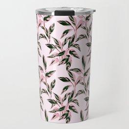 Pink and Green Indoor Plant Print Patterns Travel Mug