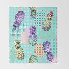Pineapple Summer Rainbow Rose Gold Throw Blanket
