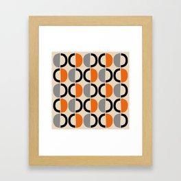 Mid Century Modern Half Circle Pattern 548 Beige Black Gray and Orange Framed Art Print