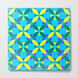 Geometric Floral Circles Vibrant Color Challenge In Bold Purple Yellow Green & Turquoise Blue Metal Print