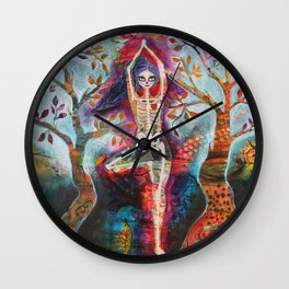 Roots, Dia De Los Muertos Yoga Tree Pose Wall Clock
