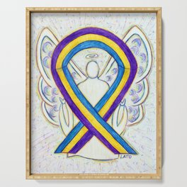 Bladder Cancer Awareness Ribbon Angel Art Painting Serving Tray