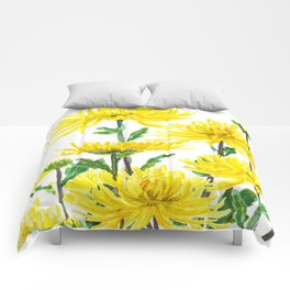 Yellow Chrysanthemums Comforters