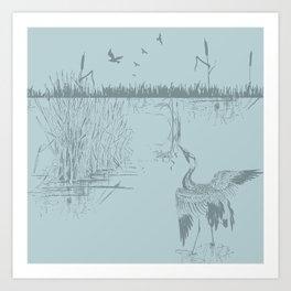 Oriental Exotic Heron & Birds on a Lake Print Art Print