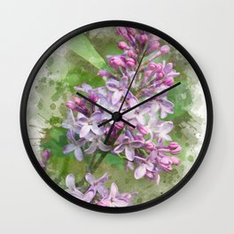 Lilac Watercolor Art Wall Clock
