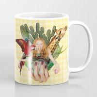 safari Mugs featuring Safari  by polina stroganova collages