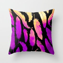 Feathers - Purple, Pink & Yellow Throw Pillow