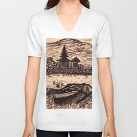 bali V-neck T-shirts featuring Bali Boating by Erica Putis