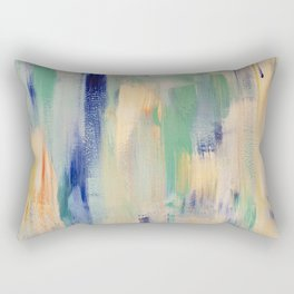 Calm blue fire: minimal, acrylic abstract art in indigo, teal and rose gold / Original Painting Rectangular Pillow