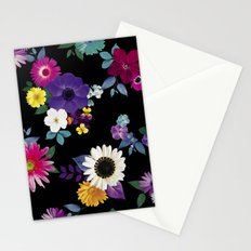 Bright flowers on a black background Stationery Cards