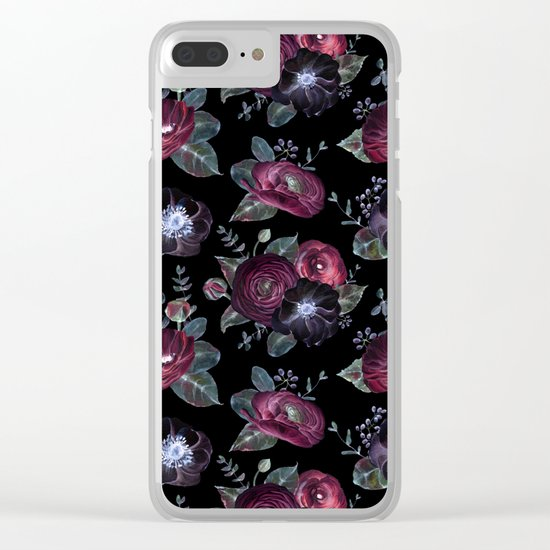 Fantasy Night Rose Red Clear iPhone Case