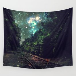 Train Tracks Next Stop Anywhere Teal Green Wall Tapestry
