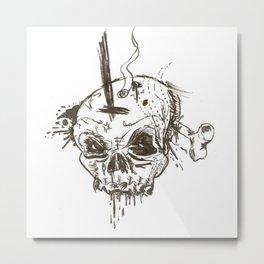 Angry Skull Head Metal Print