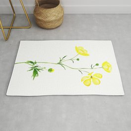 yellow buttercup flower watercolor Rug