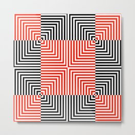 Optical illusion with red and black stripes Metal Print