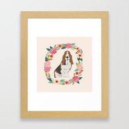 basset hound floral wreath dog gifts pet portraits Framed Art Print