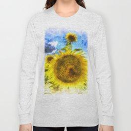 Summers Day Sunflowers Art Long Sleeve T-shirt
