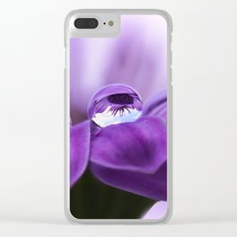 Violet flower with drops 262 Clear iPhone Case