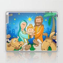 Sweet scene of the nativity of baby Jesus Laptop & iPad Skin