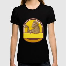 Ram Goat Drinking Coffee Crest Drawing Black MEDIUM Womens Fitted Tee