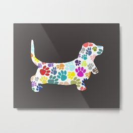 Basset Hound Colorful Dog Paw Print  Metal Print