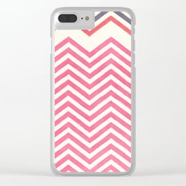 Watercolor pink ivory gray abstract geometric chevron Clear iPhone Case