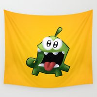 om Wall Tapestries featuring Om Nom by DROIDMONKEY