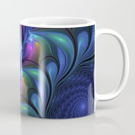 Colorful Luminous Abstract Blue Pink Green Fractal Coffee Mug