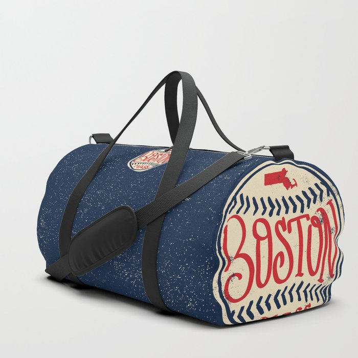Hand Drawn Baseball For Boston With Custom Lettering Duffle Bag By Goodwordsco