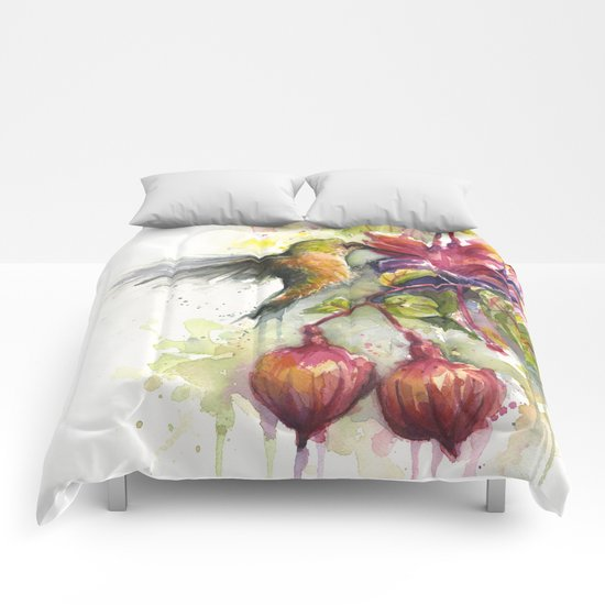 Hummingbird and Fuchsia Watercolor Comforters