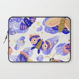 Abstract watercolor lilac navy blue gold butterflies Laptop Sleeve