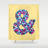 ampersand Shower Curtains featuring Ampersand by Mister Phil