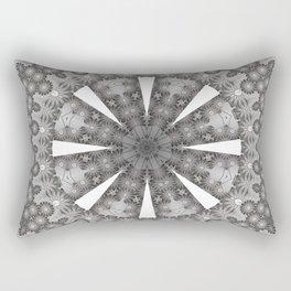 Bohemian Silver Multi Flower Mandala Design Rectangular Pillow
