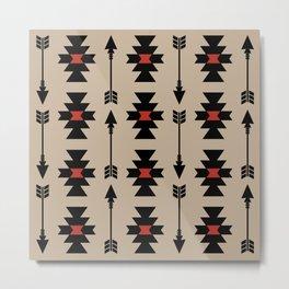 Southwestern Arrow Pattern 251 Black Red and Beige Metal Print