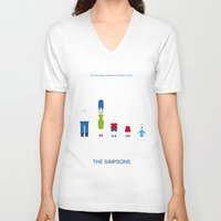 simpsons V-neck T-shirts featuring Simpsons by Jana Costa