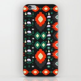 Traditional Christmas pattern with bears and trees iPhone Skin