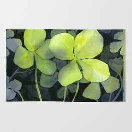 Clover Watercolor Four Leaf Clover Painting Lucky Charm Pattern Rug