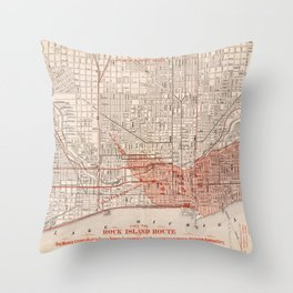 Vintage Railroad Map of Chicago (1871) Throw Pillow