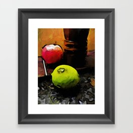 Still Life with a Green Lime and a Red Apple Framed Art Print