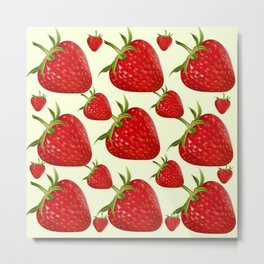 RED STRAWBERRIES PATTERN ART Metal Print