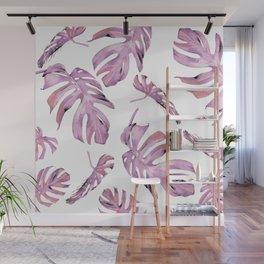 Monstera Pattern Pink #society6 #buyart Wall Mural