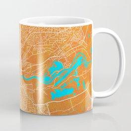 Nottingham, England, Gold, Blue, City, Map Coffee Mug