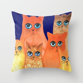 Annapolis Whimsical Cats Throw Pillow