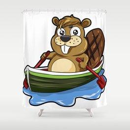 Funny Boating Beaver Cartoon Boat Rafting Canoe Shower Curtain