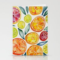 kitchen Stationery Cards featuring Sliced Citrus Watercolor by Cat Coquillette