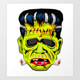 Frankenstein Vintage Mask Graphic Art Print